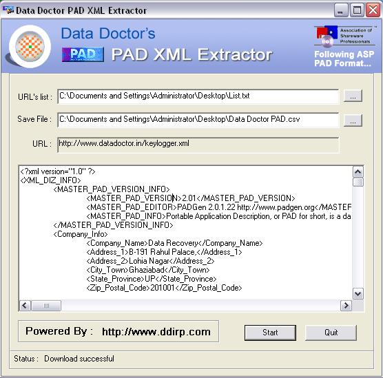 Screenshot vom Programm: PAD Information Extraction Utility